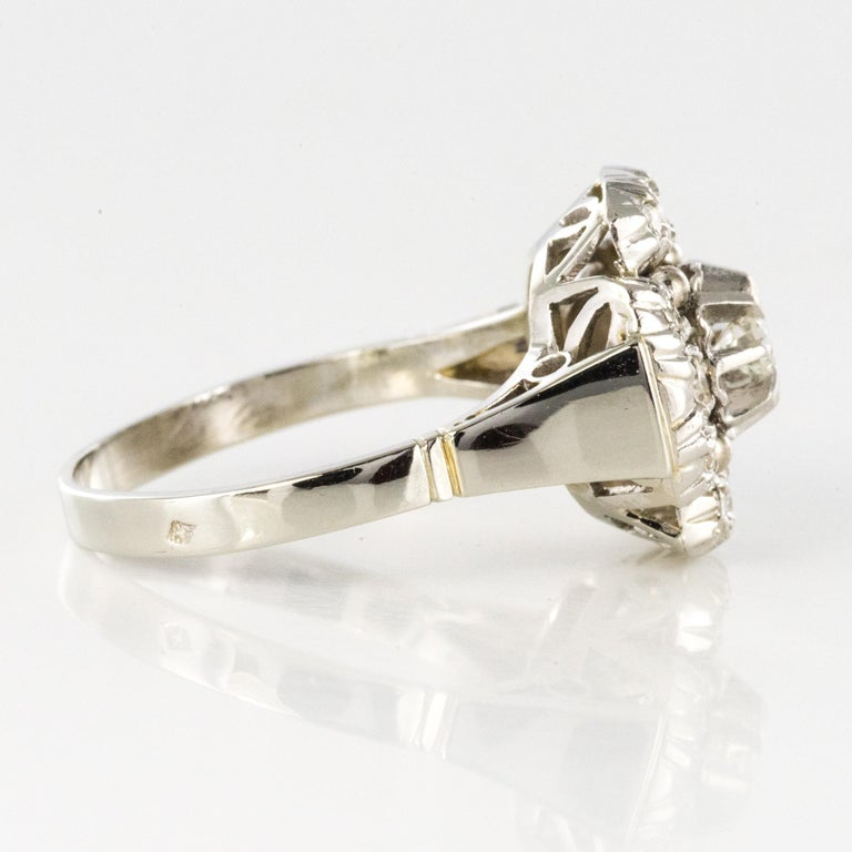 1930s Art Deco Diamonds 18 Karat White Gold Platinum Ring For Sale 8
