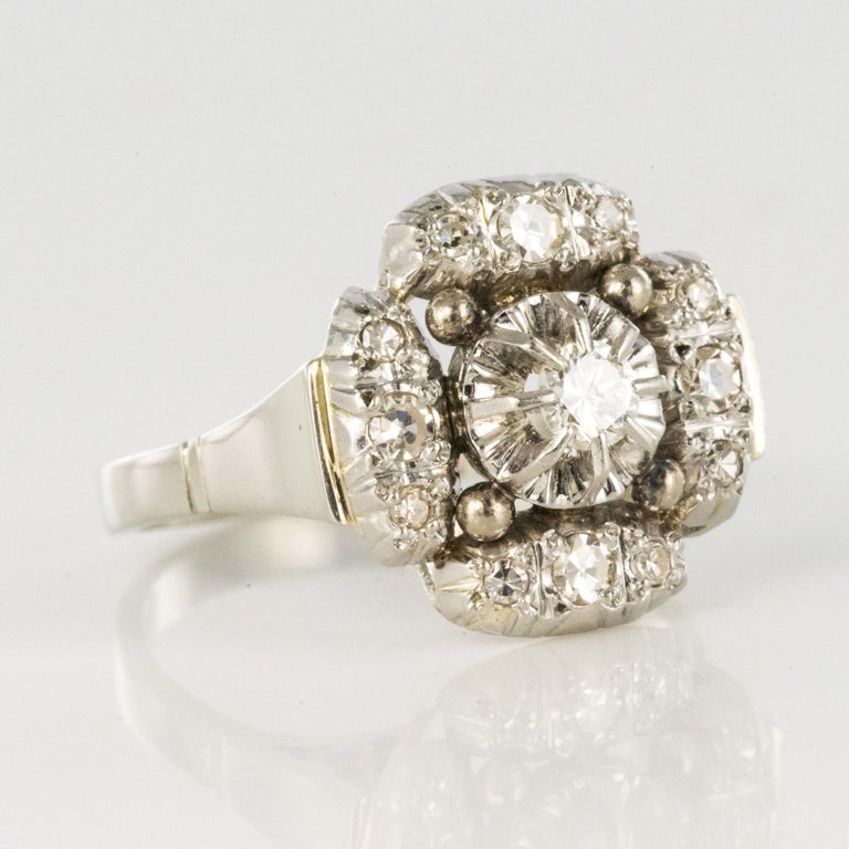 1930s Art Deco Diamonds 18 Karat White Gold Platinum Ring For Sale 9