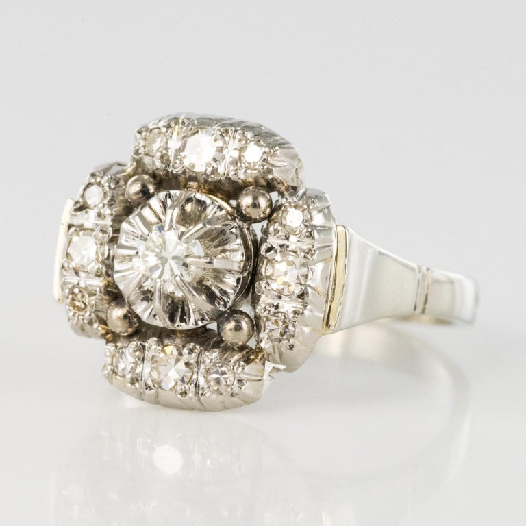 Brilliant Cut 1930s Art Deco Diamonds 18 Karat White Gold Platinum Ring For Sale