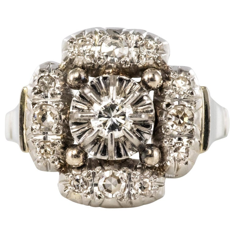 1930s Art Deco Diamonds 18 Karat White Gold Platinum Ring For Sale