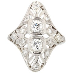 1930s Art Deco Diamonds Openwork Platinum Ring