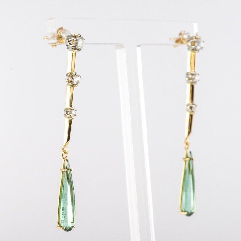 1930s Art Deco Diamonds Tourmaline 18 Karat Yellow Gold Dangle Earrings For Sale 6
