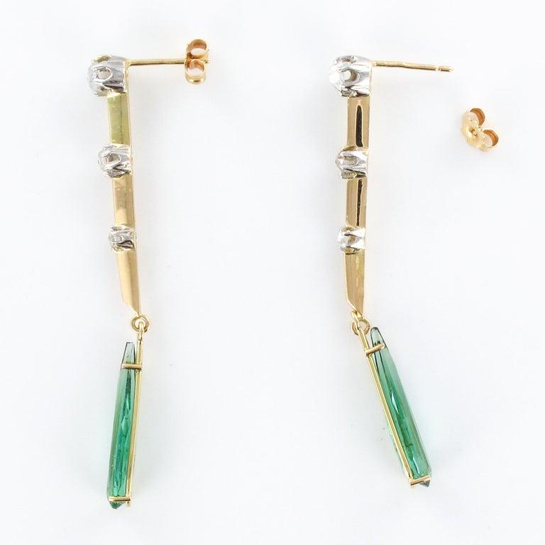 1930s Art Deco Diamonds Tourmaline 18 Karat Yellow Gold Dangle Earrings For Sale 7