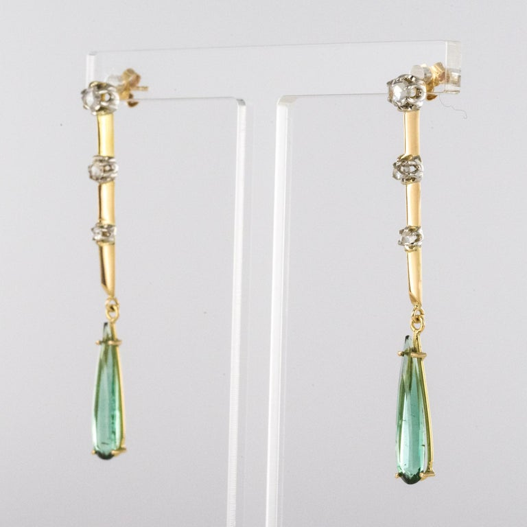 Pear Cut 1930s Art Deco Diamonds Tourmaline 18 Karat Yellow Gold Dangle Earrings For Sale