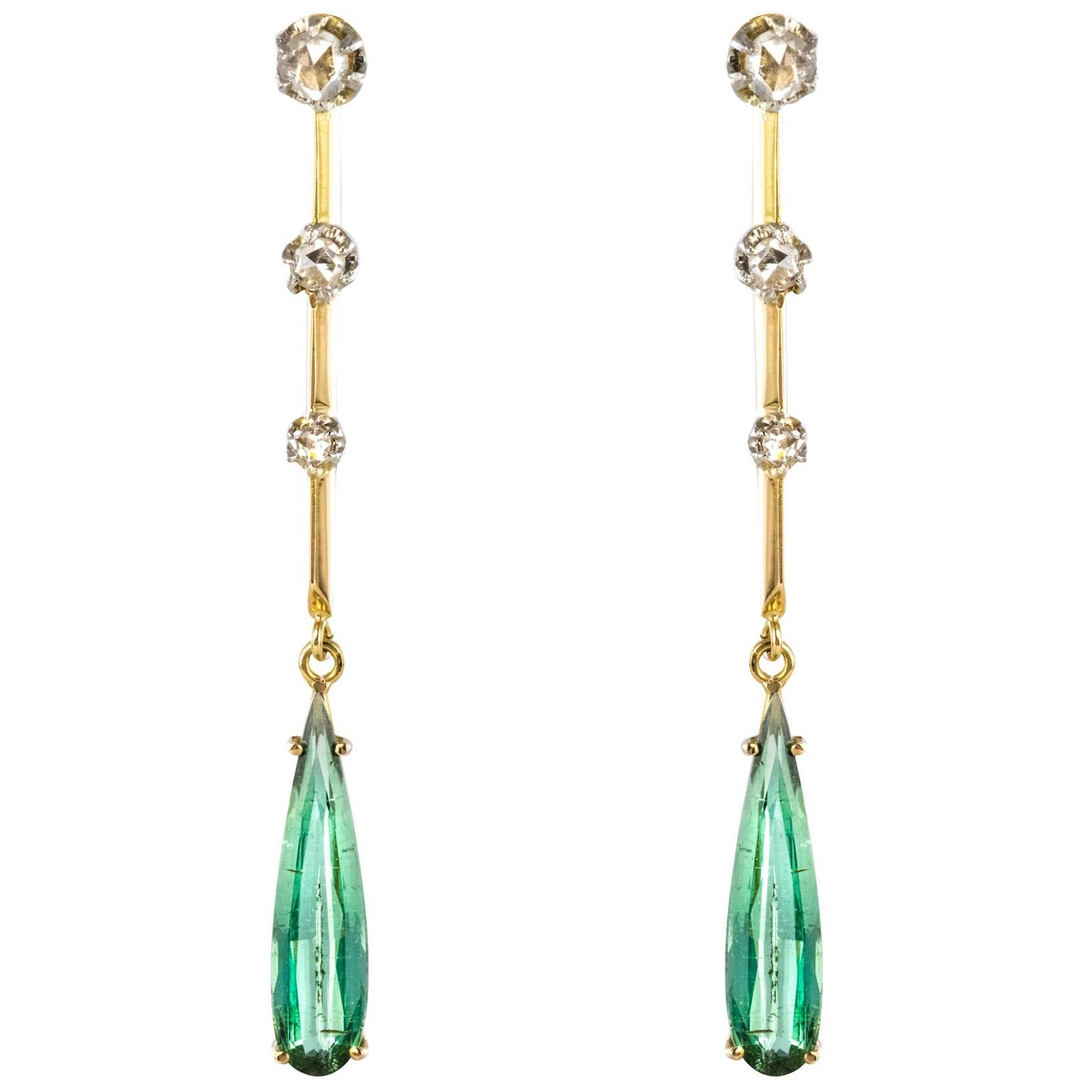 1930s Art Deco Diamonds Tourmaline 18 Karat Yellow Gold Dangle Earrings