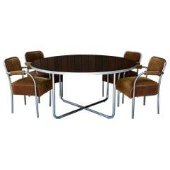 1930s Art Deco Diner Car Dining Table 4 Upholstered Armchairs Chromed Steel Set