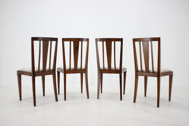 - Newly reupholstered  - Wooden parts have been repolished  - The chairs are sturdy and stable  - Walnut veneer has some signs of use  - Set of 4 - Height of seat 51cm.