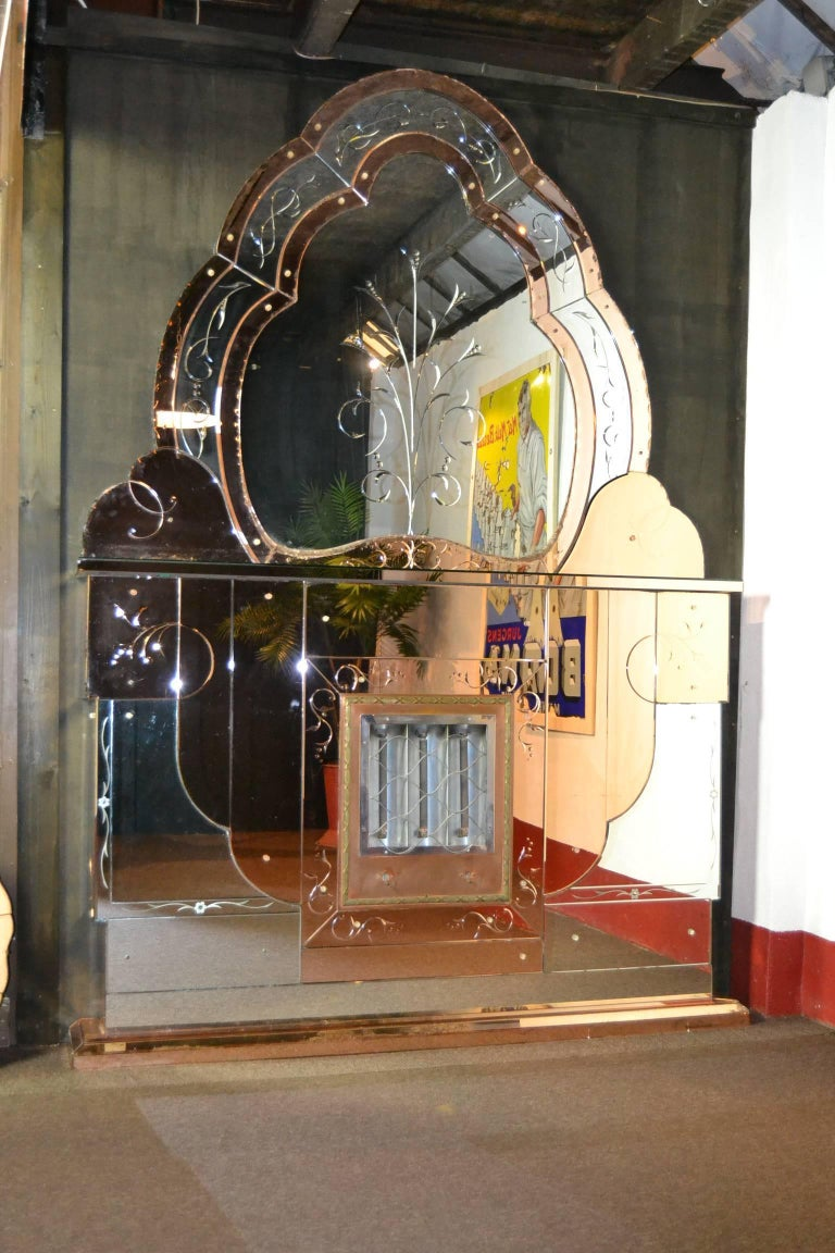 1930s Art Deco Electric Fireplace With Beveled Two Colored