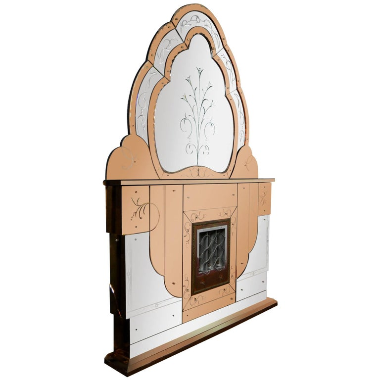 Pleasing 1930S Art Deco Electric Fireplace With Beveled Two Colored Overmantel Mirror Interior Design Ideas Tzicisoteloinfo