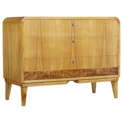1930s Art Deco Elm Shaped Chest of Drawers