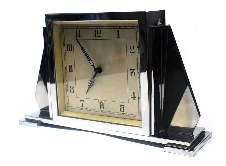 Brass 1930s Art Deco English 8 Day Chrome Clock For Sale