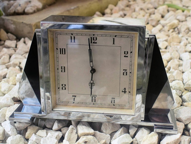 1930s Art Deco English 8 Day Chrome Clock For Sale 1