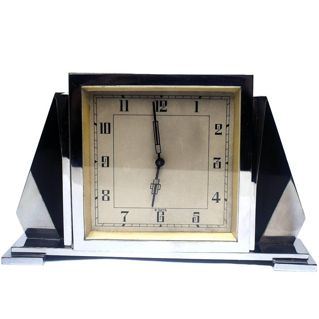 1930s Art Deco English 8 Day Chrome Clock