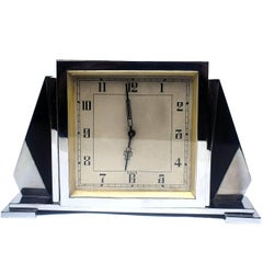 1930s Art Deco English 8 Day Chrome Clock