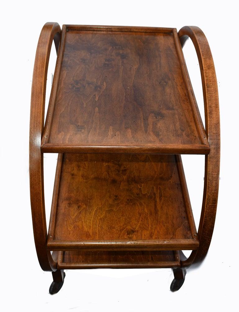 Walnut 1930s Art Deco English Circular Drinks Trolley Cart For Sale