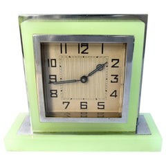 1930s Art Deco English Green Glass and Chrome Clock