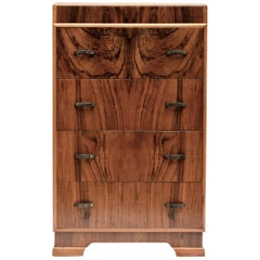 1930s Art Deco English Walnut Chest of Four Drawers