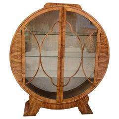 1930s Art Deco English Walnut Round Display Cabinet