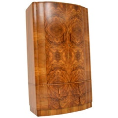 1930s Art Deco Figured Walnut Wardrobe