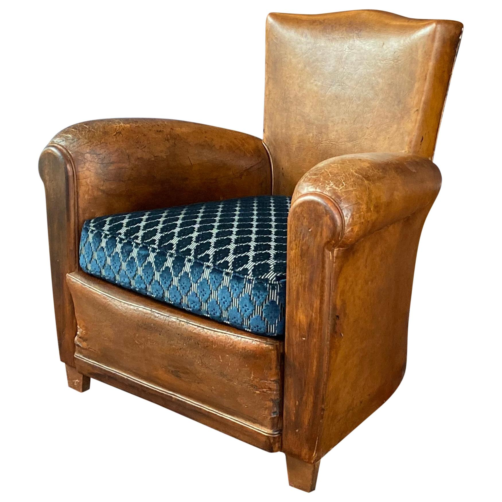 1930s Art Deco French Leather Club Chair, Christian Lacroix, France
