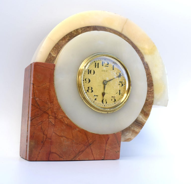 20th Century 1930s Art Deco French Marble Clock by Dep For Sale