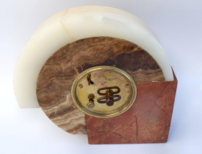Brass 1930s Art Deco French Marble Clock by Dep For Sale