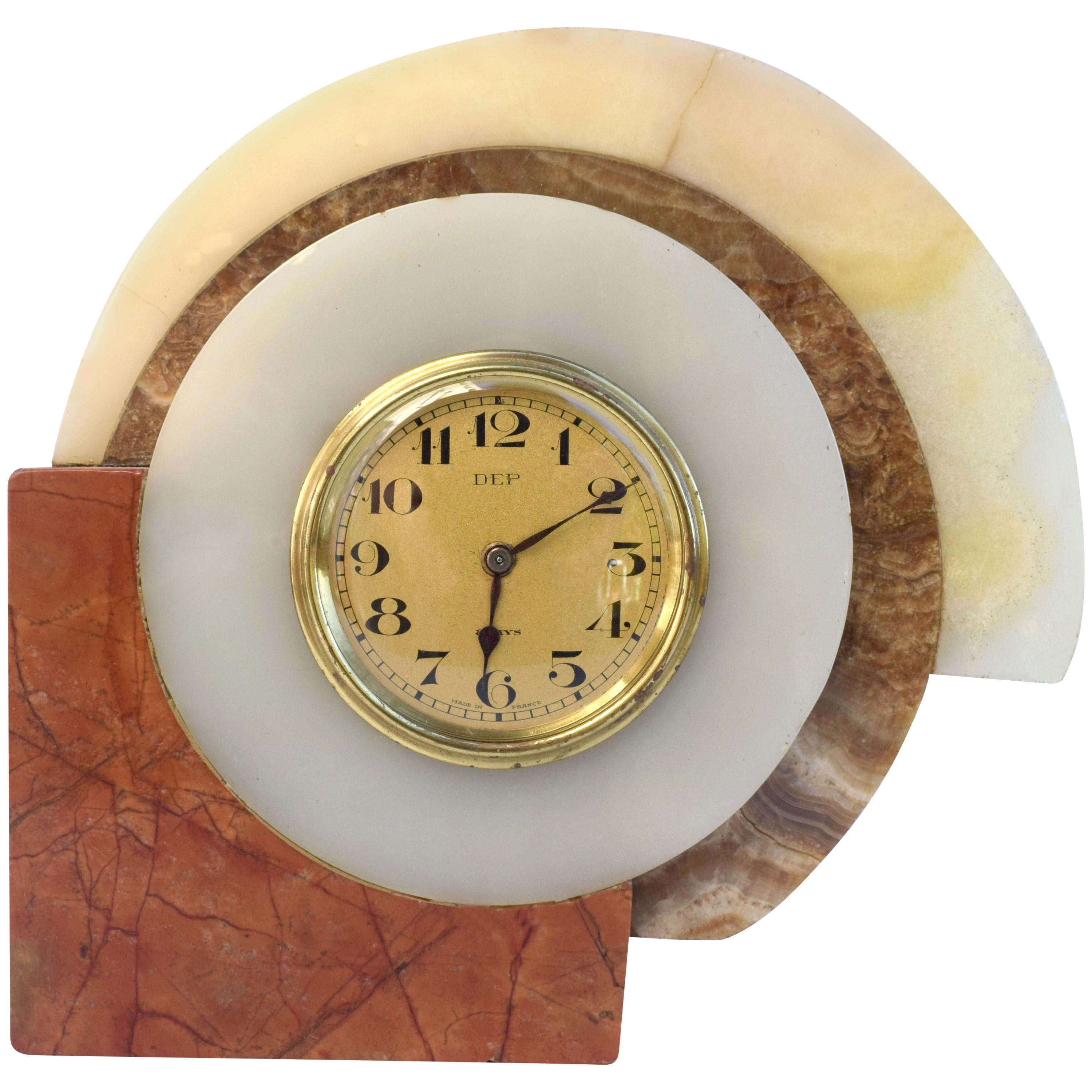 1930s Art Deco French Marble Clock by Dep
