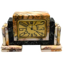 1930s Art Deco French Marble Clock by Langlois