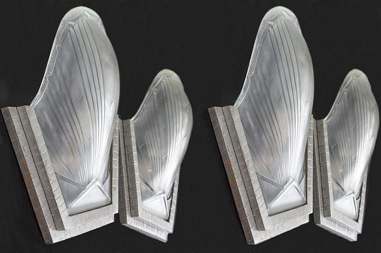 1930s Art Deco French Wall Light Sconces, Set of Four In Good Condition For Sale In Devon, England