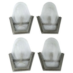 1930s Art Deco French Wall Light Sconces, Set of Four