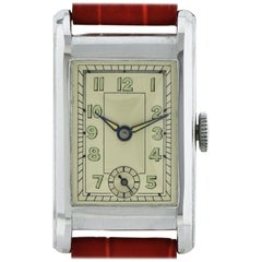 1930s Art Deco Gents Wristwatch Old Stock, Never Worn, Newly Serviced
