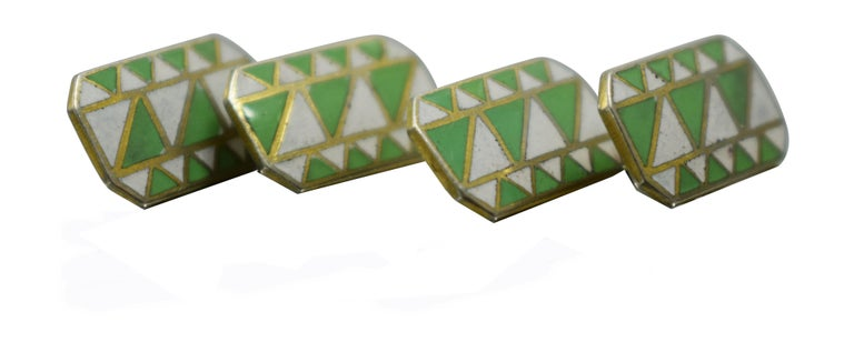 A rare find are these totally original enamel cufflinks from the 1930's. Great Art Deco geometric styling and colour, can't be confused with any other era can they? Condition is great with minimal signs of age. Ideal for todays dapper gentleman.