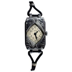 1930s Art Deco Geometric Ladies Watch By Elgin