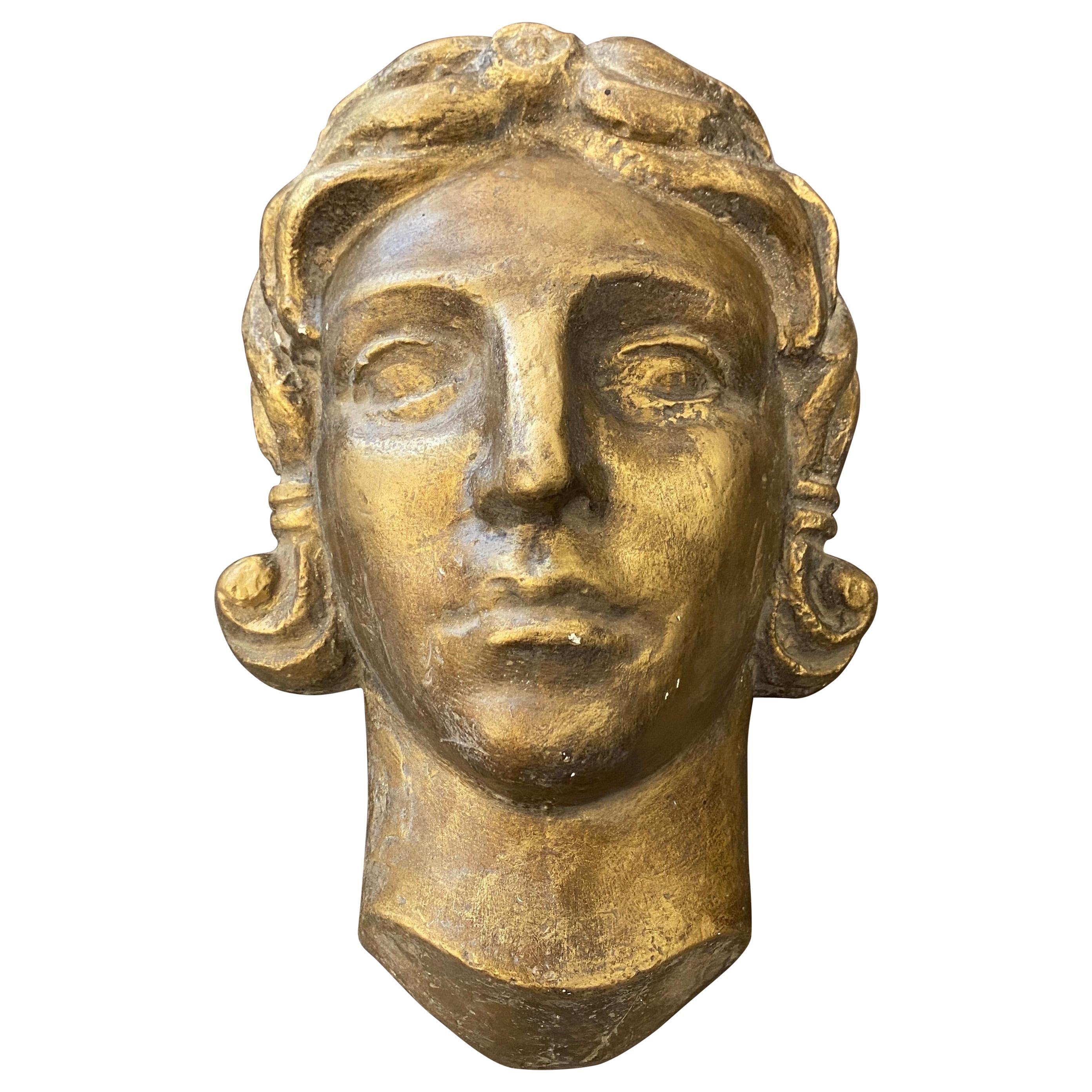 1930s Art Deco Gilded Plaster Italian Sculpture of an Head