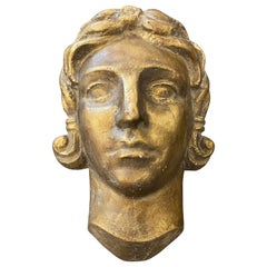 1930s Art Deco Gilded Plaster Italian Sculpture of an Head
