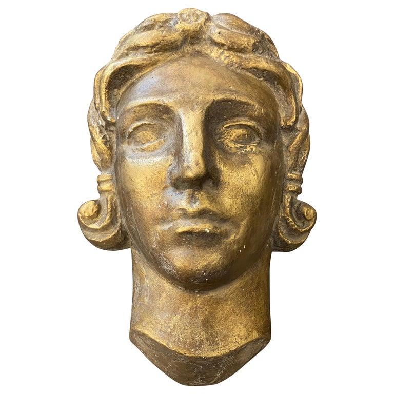 1930s Art Deco Gilded Plaster Italian Sculpture of an Head For Sale