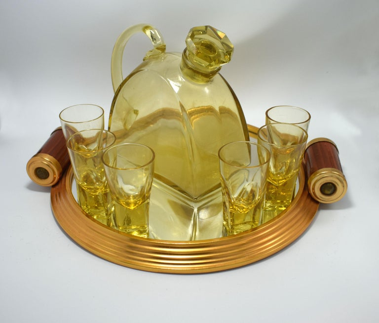 20th Century 1930s Art Deco Glass Decanter Set with Matching Tray For Sale