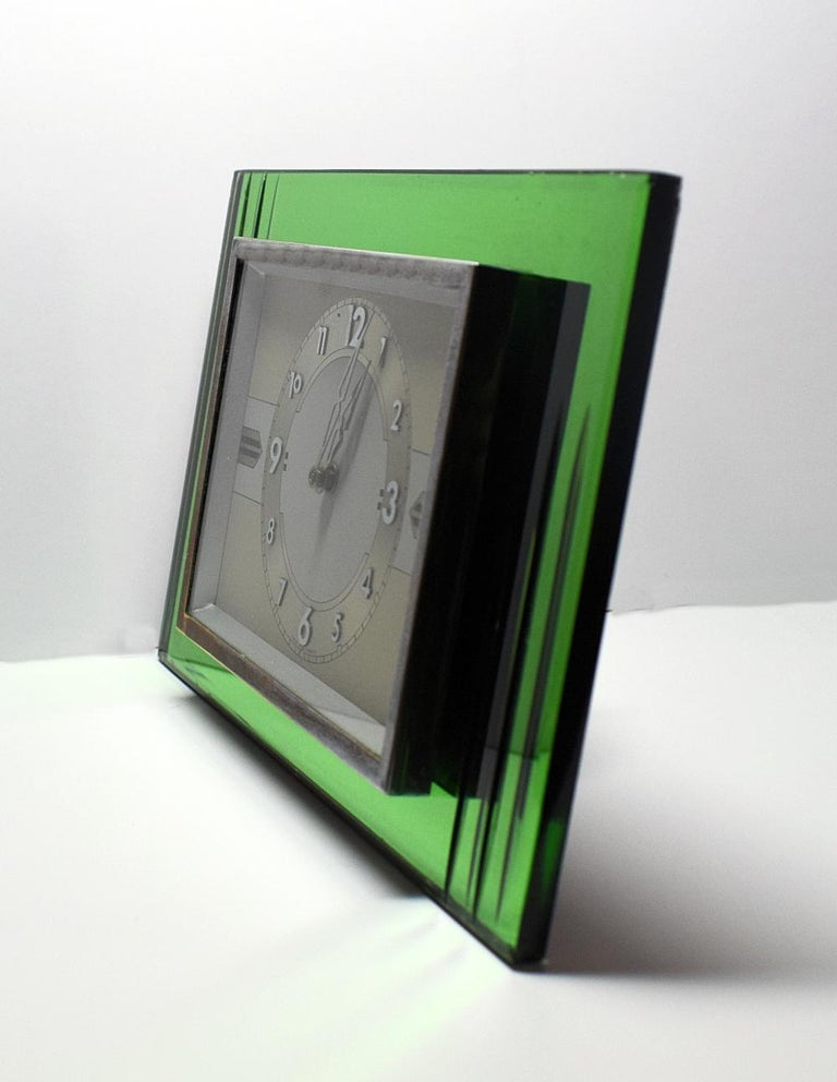French 1930s Art Deco Green Mirror and Chrome Clock with 8 Day Movement For Sale