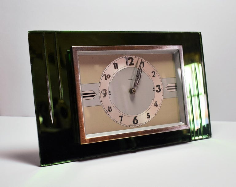 20th Century 1930s Art Deco Green Mirror and Chrome Clock with 8 Day Movement For Sale