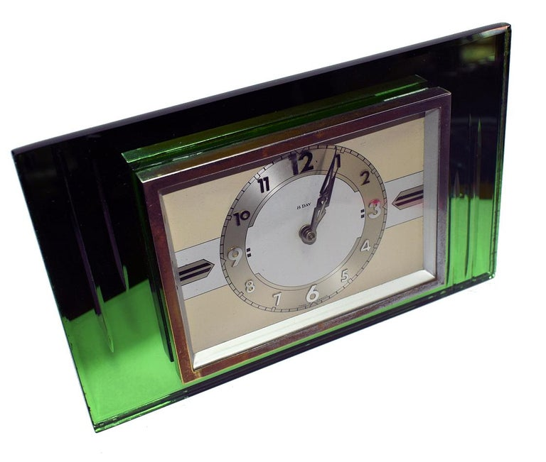 Glass 1930s Art Deco Green Mirror and Chrome Clock with 8 Day Movement For Sale