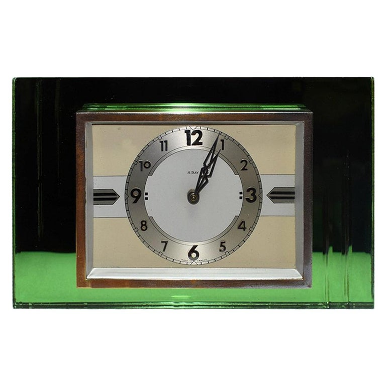 1930s Art Deco Green Mirror and Chrome Clock with 8 Day Movement For Sale