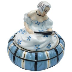 1930s Art Deco Half Doll Powder Bowl