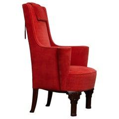 1930's Art Deco High Back Arm / Easy Chair in Villa Gallia Style Made in Austria