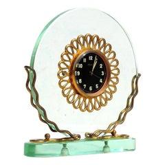 1930s Art Deco Italian Crystal Table Clock