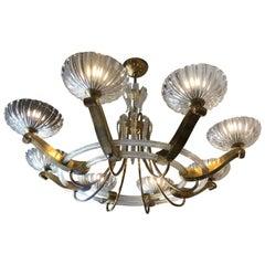 1930s Art Deco Italian Eight Lights Artistic Murano Glass and Brass Chandelier