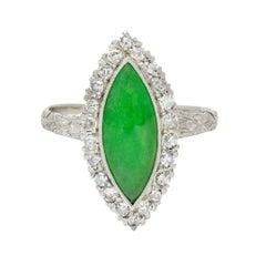 1930's Art Deco Jade Diamond Platinum Navette Cluster Ring
