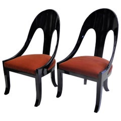 1930s Art Deco Black Lacquered Spoonback Chairs in Mohair Velvet