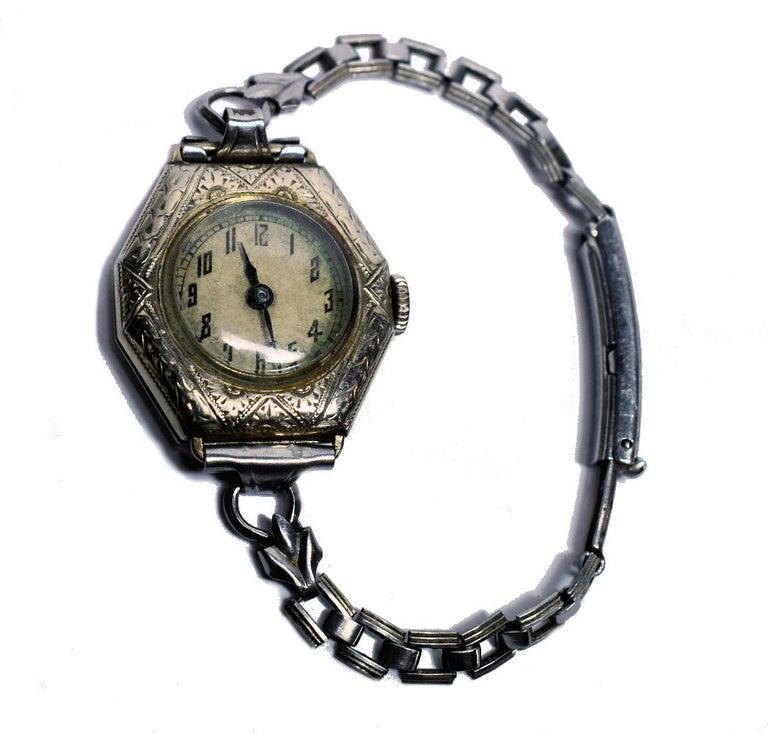 20th Century 1930s Art Deco Ladies White Gold Filled Wrist Watch