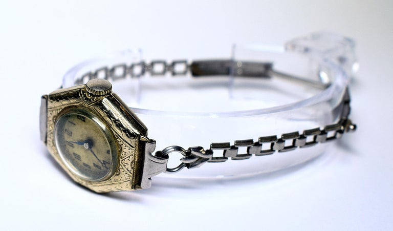 Silver Plate 1930s Art Deco Ladies White Gold Filled Wrist Watch