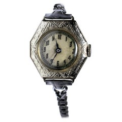 1930s Art Deco Ladies White Gold Filled Wrist Watch